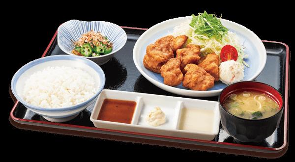 山田うどんの3種のタレで食べる唐揚げ定食