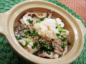 豚肉とくずし豆腐の薬味鍋